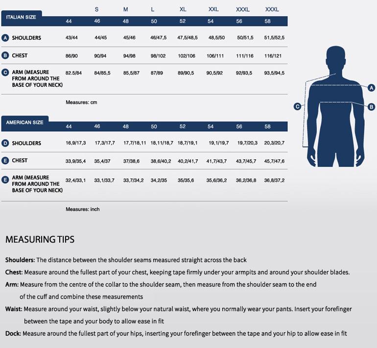 Size chart outwear