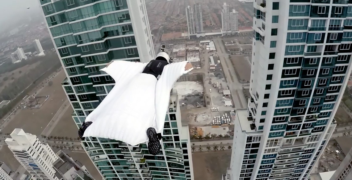 Roberta Mancino Wingsuits Through Panama City Skyline