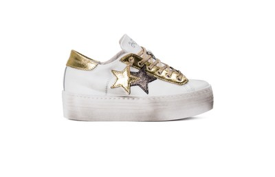 Sneaker low high sole white/gold