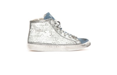 High top sneakers white sequins/jeans
