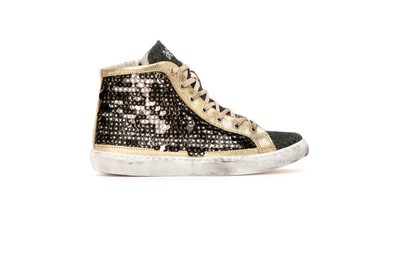 Sneaker high paillettes nere/oro