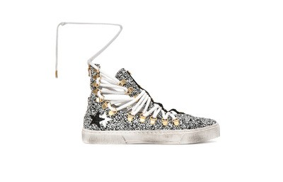 Slave style sneakers white/black glitter