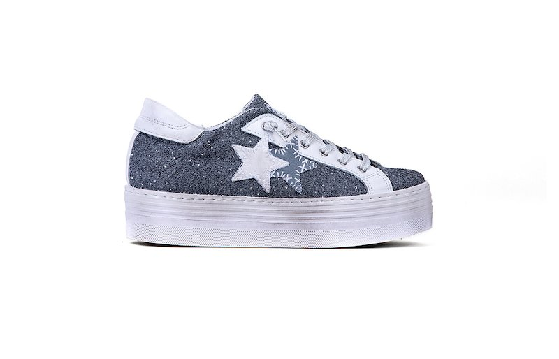 SNEAKER LOW HIGH SOLE CHARCOAL- WHITE