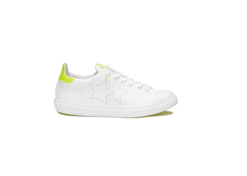 WHITE AND YELLOW FLUO LOW SNEAKERS
