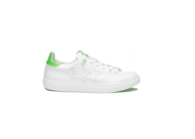 WHITE AND GREEN FLUO LOW SNEAKERS