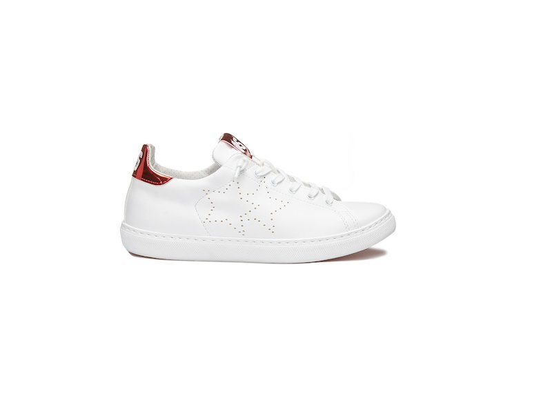 WHITE AND RED LAME' LOW SNEAKERS