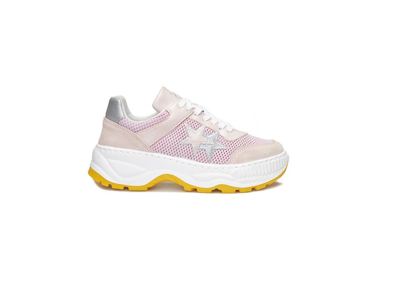PINK AND SILVER LOW SNEAKERS