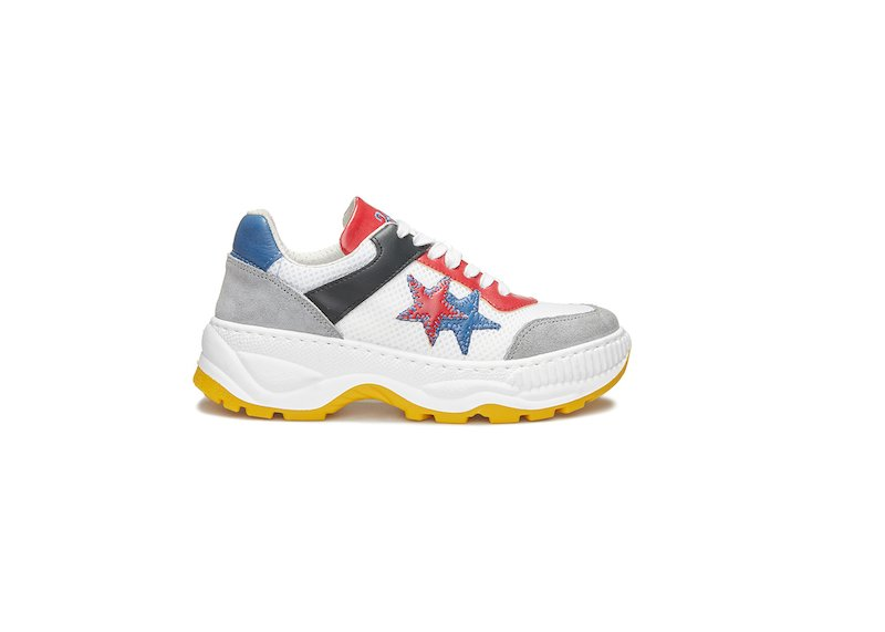 WHITE, BLUE, RED AND BLACK LOW SNEAKERS