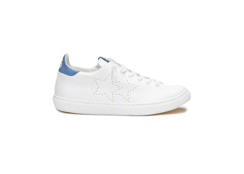 WHITE AND CORNFLOWER BLUE LOW SNEAKERS