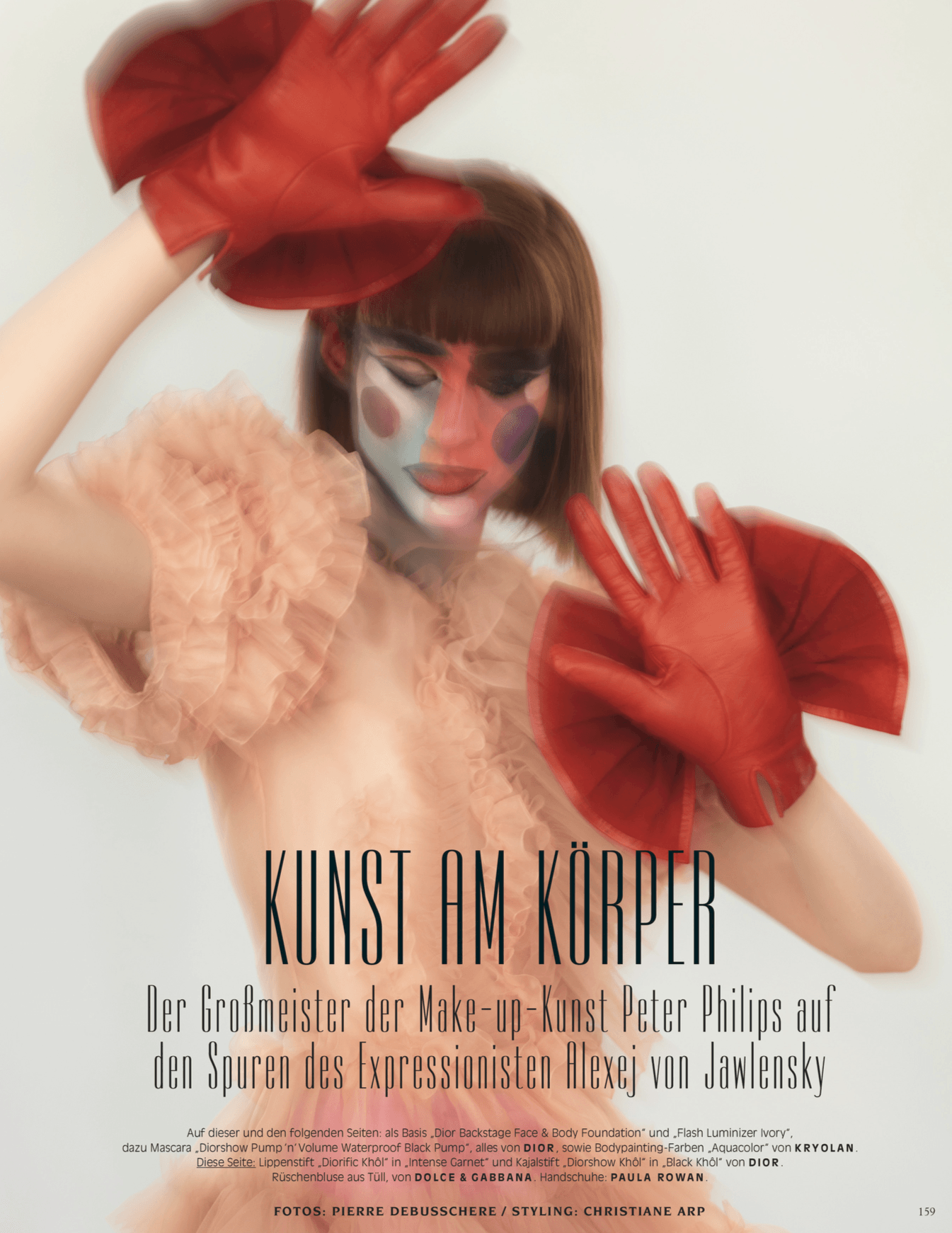 Publication: Vogue Germany<br />Stylist: Christiane Arp<br />Photographer: Pierre Debusschere<br />Gloves: Minnie Massive