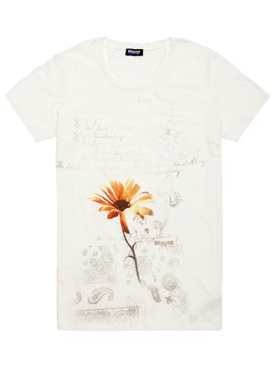 T-SHIRT MIT ORANGE BLUME