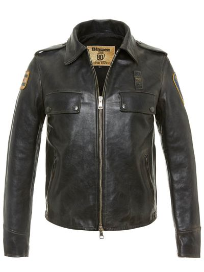 POLICE LINED LEATHER JACKET