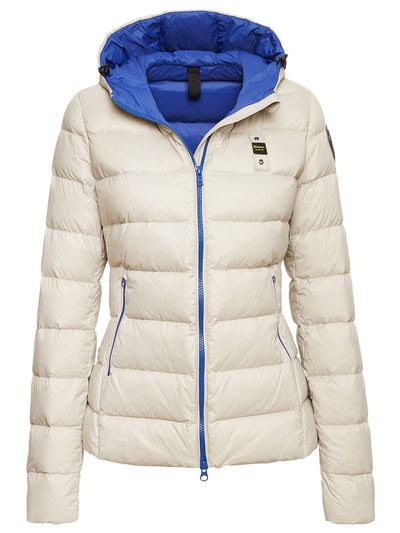 WOMEN'S DOWN JACKET WITH HOOD IN BICOLOUR DOWN