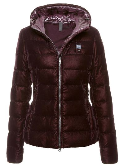DOWN JACKET WITH HOOD IN VELVET
