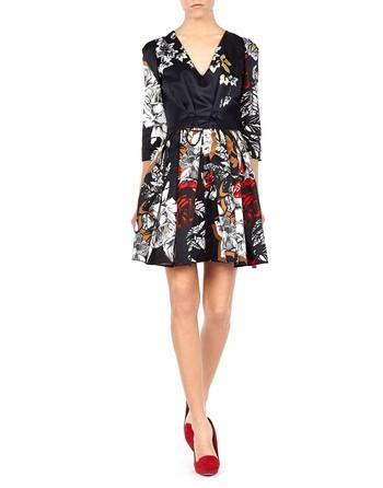 Rose-print Satin Dress