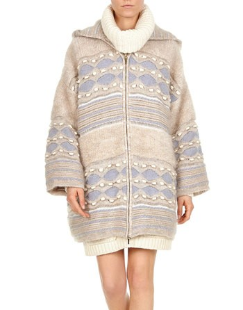 Oversized Hooded Knit Coat