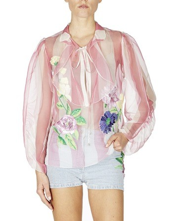 Silk Organza Blouse With Floral Embroidery