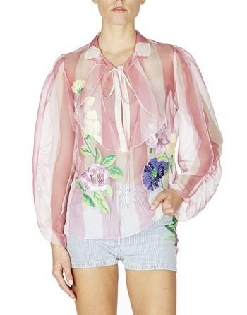 Blusa En Organza De Seda Con Flores Bordadas