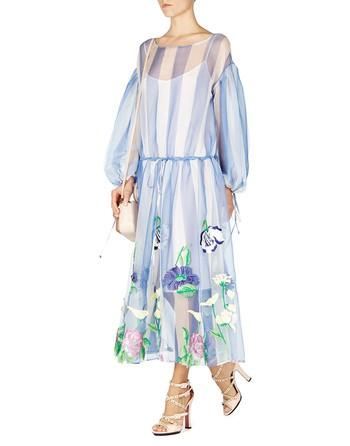 Vestido En Organza De Seda Con Bordado De Flores