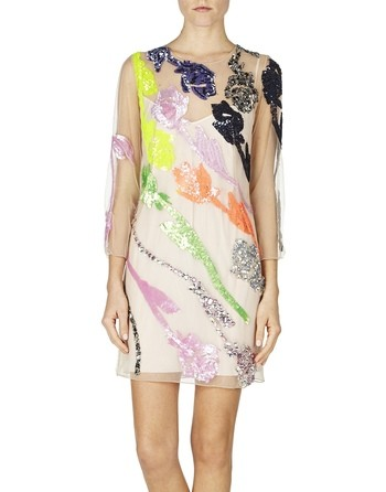 Rose-embroidered Tulle Dress