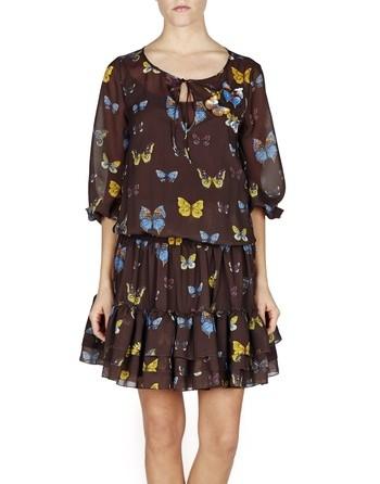 Butterfly-print Chiffon Dress