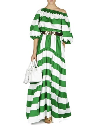 Striped Cotton Maxi Skirt
