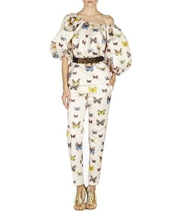 Pantaloni In Duchesse Stampa Farfalle
