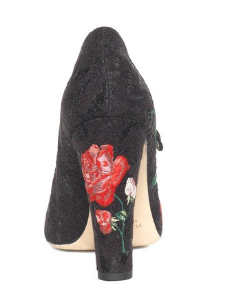 Lace Pumps With Floral Embroidery