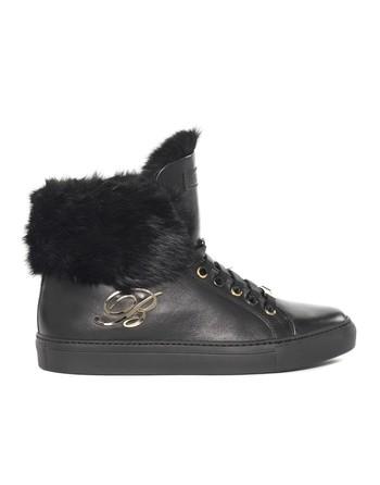 Sneaker Alta In Pelle Con Pelo