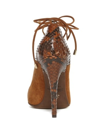 Pointed-toe Suede And Python Court Shoe