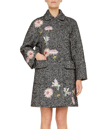 Chevron Double-breasted Coat With Floral Embroidery