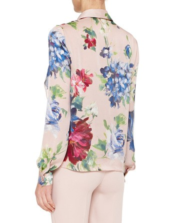 Silk Charmeuse Shirt With Pictorial Floral Print