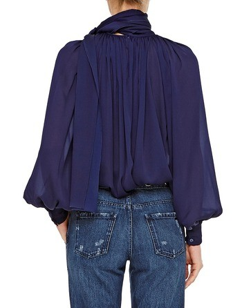Silk Charmeuse Blouse With Bow And Drapes