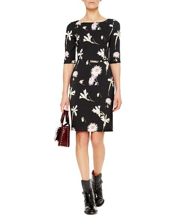 Viscose Twill Dress With Floral Print And Belt