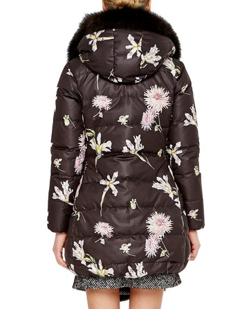 Long Down Jacket With Floral Print And Hood