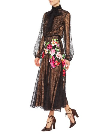 Long Embroidered Lace Skirt