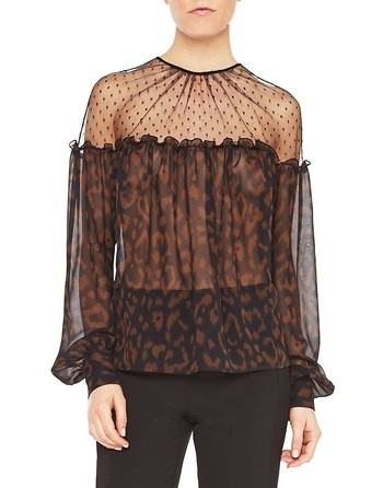Animal-print Silk And Plumetis Blouse