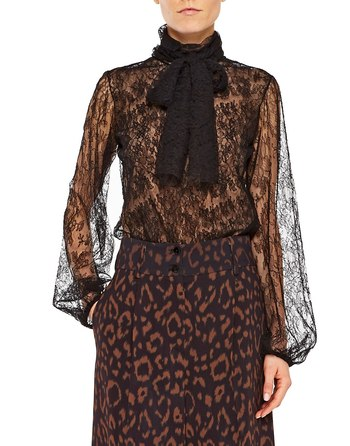 Lace Blouse With Bow Scarf