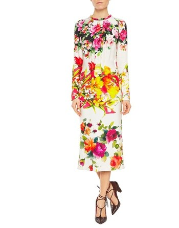 Twill Midi Dress With Arty Flowers Print