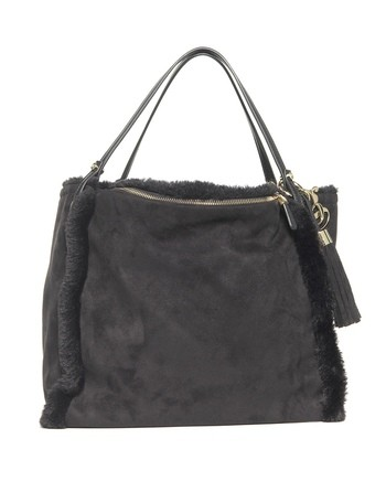 Faux-fur And Fabric Bag