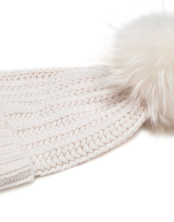 Wool Hat With Fur Pom Pom
