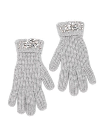 Wool And Cashmere Gloves With Swarovski Embroidery