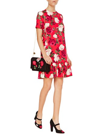 Short-sleeve Twill Dress With Roses Print