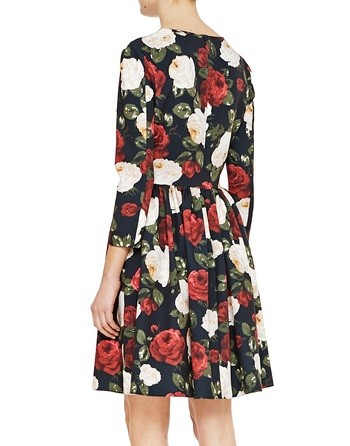 Twill Dress With Roses Print And Pleats