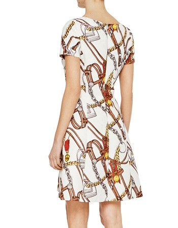 Jacquard Dress With Stirrups Print