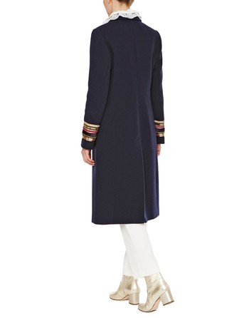 Wool Coat With Embroidered Sleeves