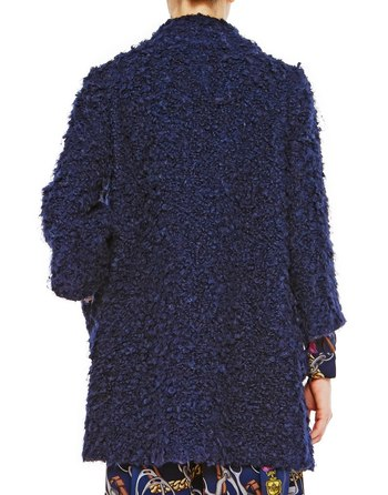 Bouclé Coat With Brooch Embroidery