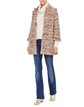 Fringed Bouclé Coat With Brooch Embroidery