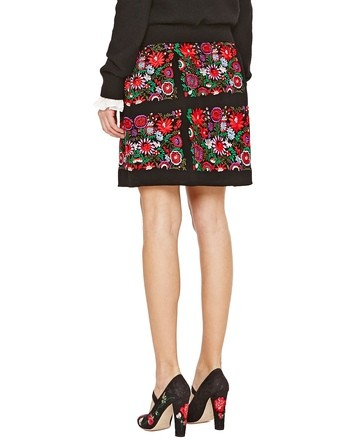 Crepe Skirt With Floral Embroidery