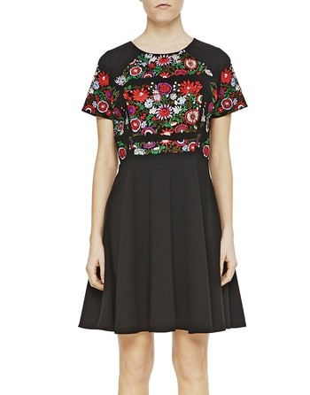 Crepe Dress With Floral Embroidery